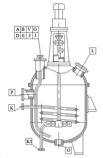 Vessel with split elliptical head and agitator drawing