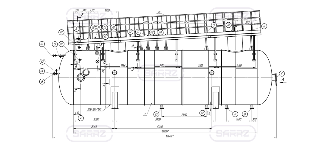 Water settling tank 80 m3 drawing